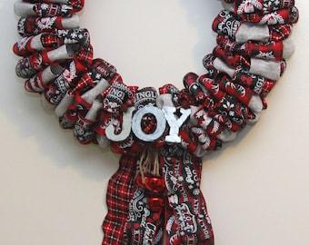 Joy Christmas ribbon wreath