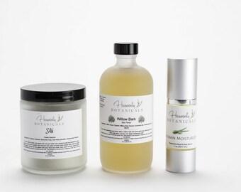 Plant based, Natural Skin Care Set, All skin types, Vitamin Moisturizer, Willow Bark Toner, Silk Face Cleanser, Organic skin care set