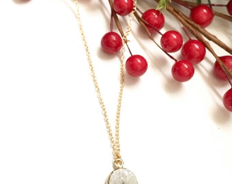 Off White Druzy with 14K Gold Filled Cable Chain Necklace, Druz , Gifts for Her, Druzy Necklaces, Birthday Gift Ideas, Drusy, Druzy