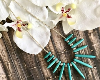 Bohemian Silver and Turquoise Spike Necklace