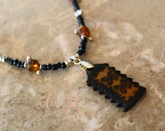 Simple Black and Gold Colored Butterfly Necklace