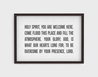 Holy Spirit You Are Welcome Here || Hand Lettered Poster Print