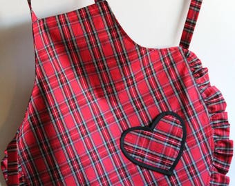 Girl's Apron, Girl's Easter Apron in Red Plaid