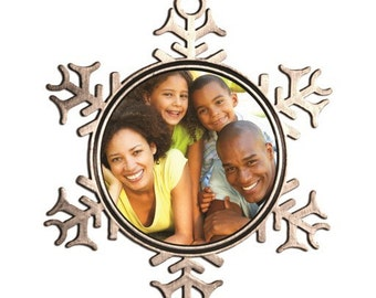 Custom photo ornament, snowflake ornament, photo ornament, pewter ornament, picture ornament, christmas ornament, holiday ornament
