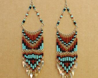 Chandelier Earrings, Boho Earrings, Multi Color Earrings, Beaded Earrings, Long Earrings, Brown Earrings, Turquoise Earrings, Beaded Earring