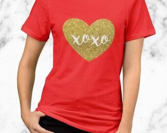 Gold Xoxo Heart - Valentine's Day Shirt - Gold Glitter Design