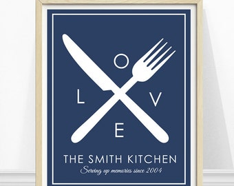 Personalized Kitchen Art, Kitchen Cutlery Print, Family Name Print, Kitchen Art, Navy Blue Kitchen Art