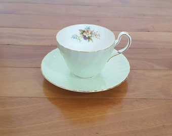 Collectible FOLEY Mint Green Scalloped Floral Tea Cup & Saucer Set, England