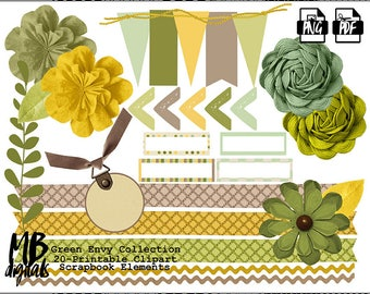 ENVY Clipart Set, Flowers, Leaves, Labels, Ribbon, Green Envy, Shades of Green, Printable Clipart, Scrapbook Elements, INSTANT DOWNLOAD