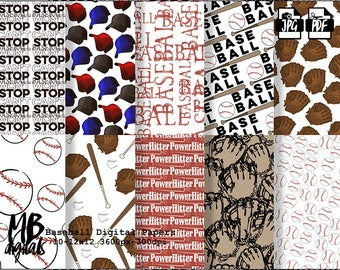 BASEBALL Digital Paper, Printable pdf, Digital Paper Pack, Baseballs, Mitts, Bats, Caps, Red, Blue, Brown, White, INSTANT DOWNLOAD