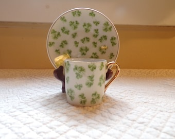 Demitasse Set Clover Pattren Cup and Saucer Vintage 1933