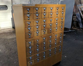Library Card Catalog Cabinet 60 Drawer #18