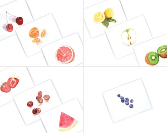 Colorful Watercolor Stationary Set - Blank Notecards Set - Fruit Notecard Set - Farmers Market Cards - Fresh Fruit Illustration