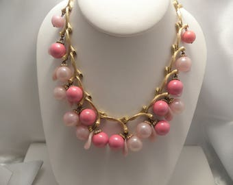 Vintage Pink Beaded Cluster Necklace In Gold Tone Bamboo