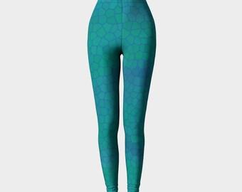 Cerulean and aqua leggings, yoga pants, printed leggings, mosaic, fish scales, mermaid by Felicianation Ink