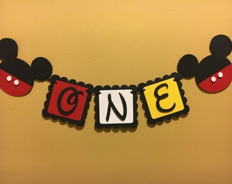"""Mickey Mouse """"One"""" Banner / Mickey First Birthday / Mickey Mouse Party"""