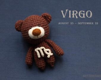 Virgo zodiac teddy bear - crochet zodiac toy, Virgo birthday present, horoscope Virgo gift, Virgo star sign - MADE TO ORDER