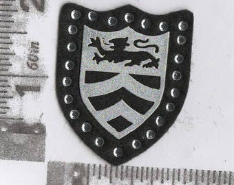 Black and silver lion shield iron on patch
