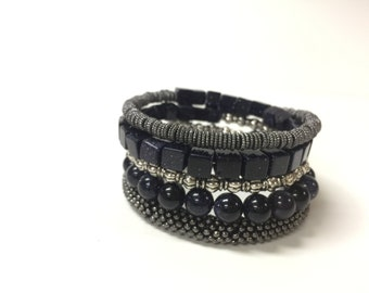 Hand made Navy Blue memory wire bracelet