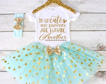 I'm So Cute My Parents Are Having Another. Pregnancy Announcement Shirt. Promoted to Big. Big Sister Shirt. S22 PGA (AQUA)