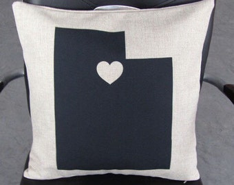 I Heart UTAH pillow cover on Canvas/Burlap