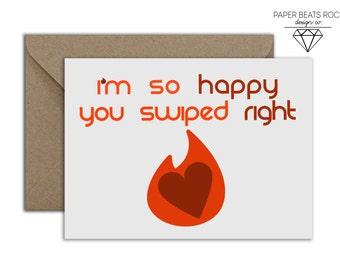 Tinder Boyfriend Girlfriend Valentine's Day Card, Tinder Relationships HAPPEN Valentine's Card, Funny Valentine's Card, Swipe Right