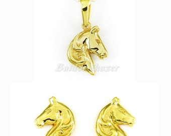 Silver or Gold Pendant and Earrings Set