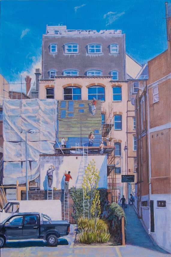 "Spring Reflections, Giclée Print 12""X16"" from a Painting in Acrylic of workmen replacing a roof"