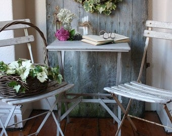 Pair of White Vintage French Folding Cafe Chairs