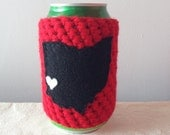 Miami of Ohio, Miami University | Oxford, Ohio Crochet Beer Cozy in Red, Coffee Cup Cozy, Bottle Cozy by Maroozi