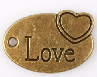 15 pcs Antique Bronze Love with heart oval charms
