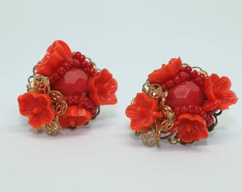 Bright Red Coral Vintage Plastic Flower Filigree Clip On Earrings