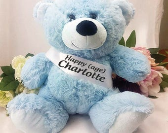 Personalised Birthday Bear with Sash- Light Blue