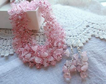 gemstone necklace Rose Quartz Necklace  Rose Quartz Jewelry wedding necklace gemstone choker gemstone jewelry crystal necklace Fertility