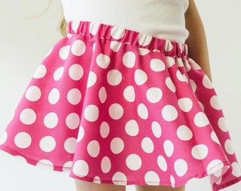 SALE - CLEARANCE- Hot Pink and White Polka Dot Twirl Skirt | Hot Pink and White Polka Dot Twirl Skirt