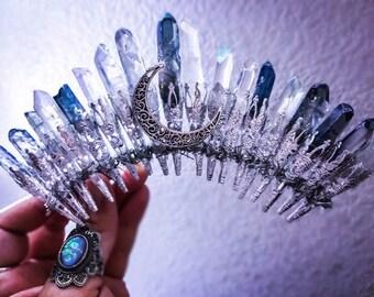 Crystal Crown, crystal quartz crown, crystal crowns, bridal tiara, bridal veil, photoshoot, bridal crown, mermaid crown