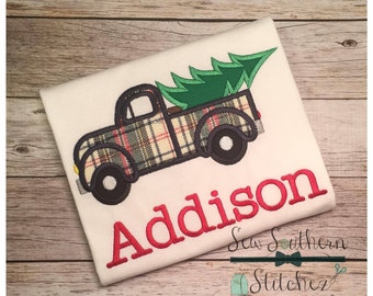 Old Truck Hauling Christmas Tree ~ Applique Design ~ Instant Download