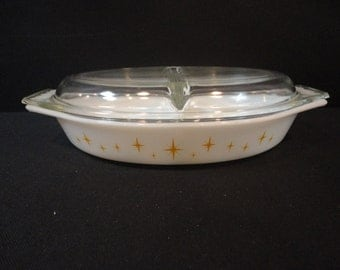 Vintage Pyrex Constellation 1 1/2 Divided Casserole with 945C Lid
