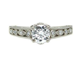14k White Gold Art Deco Inspired Diamond Engagement Ring