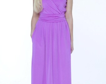 Violet  Maxi Dress Wrap Neck  Sleeveless Pockets