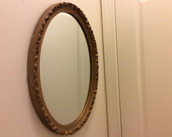 Vintage Large Syroco Gold Oval Hollywood Regency Mirror, Shabby Chic Gold Rose Wall Mirror