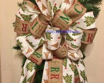 Merry Christmas Tree Topper Bow, Christmas Tree Bow, Merry Christmas Yule Bow, Christmas Tree Holiday Tree Bow, Burlap Christmas Bow, Gold