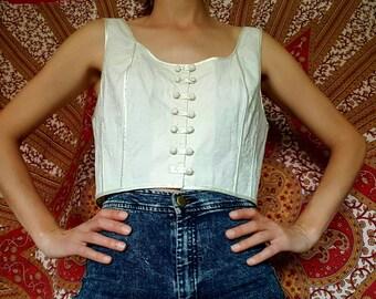 VINTAGE 90s corset shirt//cotton//M size
