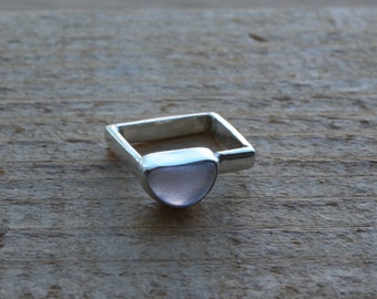 Lavender Sea Glass Ring in Silver with Square Band