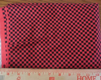 Destash- Over 2 Full Yards of Small Red And Black Check Fabric