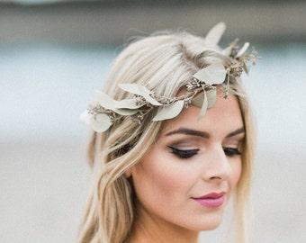 Dried Flower Crown- Eucalyptus Crown- Bridal Floral Crown- Boho Wedding Headpiece- Greenery Halo- Rustic Wedding Halo