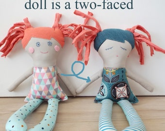 Doll is a two sides, Baby Toys,Gift for Newborn, Rag Doll, First Tender Doll, Stuffed Handmade Rag Doll for Baby, Pink Doll ,Retro Pink Doll