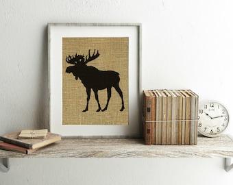Moose Print - Burlap Print - Moose Decor - Cabin Decor - Woodland Nursery - Moose Burlap Print