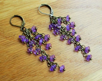 Purple flower earrings, violet flower earrings, Wisteria, czech glass earrings, long earrings.