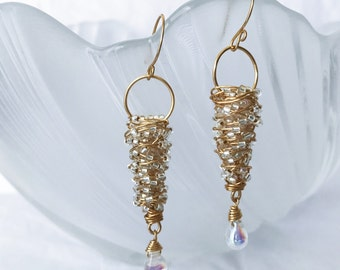 Hand wrapped glass beads earrings with gold wire and Czech glass beads